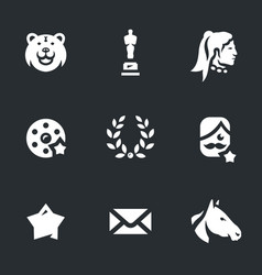 set of movie award icons vector image