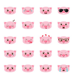 set of pigs emojis vector image