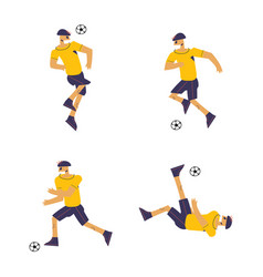 set of soccer players in flat design style vector image