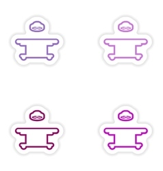 Set paper stickers on white background operating vector