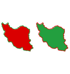 Simplified map iran persia outline fill and vector