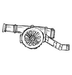 Sketch antique cannon vector