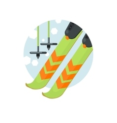 Skiing Round Sticker vector image