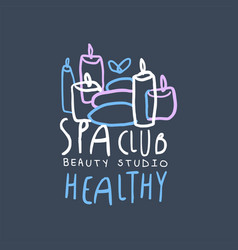 spa club healthy and beauty studio logo design vector image