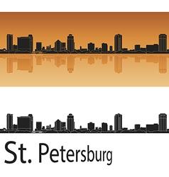 St Petersburg skyline in orange background vector image