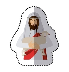 sticker half body jesus carrying a sheep vector image