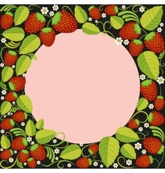Strawberries background with leaves berries and vector image