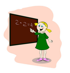 Student standing in front of a blackboard vector