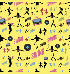 Swing dance pattern dancers and musicians retro vector