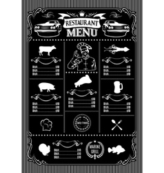 Template for menu on black background and icons of vector