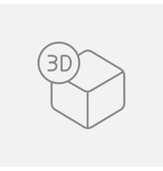 Three d box line icon vector