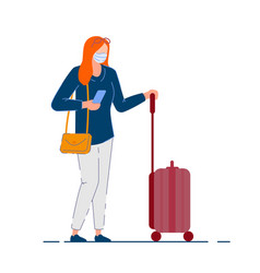 Traveler woman tourist woman in mask holding bag vector