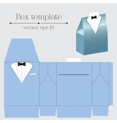 Tuxado box template Blue color vector