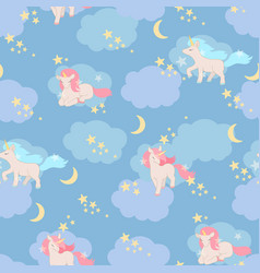 unicorns seamless pattern elements vector image