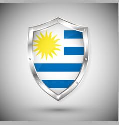 uruguay flag on metal shiny shield collection vector image