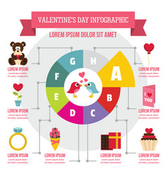 Valentine day infographic concept flat style vector