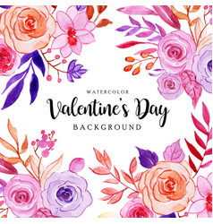 Watercolor valentine elements background vector