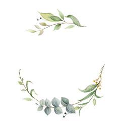 Watercolor wreath green eucalyptus vector
