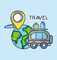 World bus luggage gps navigation pointer tourist vector
