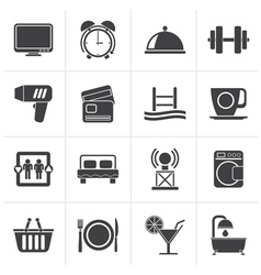 Black Hotel and Motel facilities icons vector image vector image