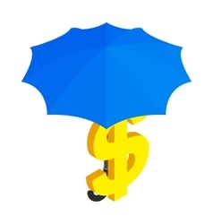 Dollar under umbrella icon isometric 3d style vector image