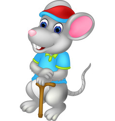 funny mouse cartoon standing bring stick vector image