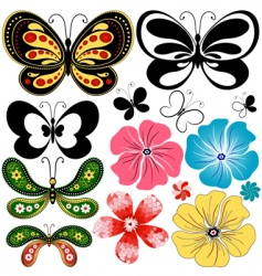 new set butterflies and flowers vector image vector image