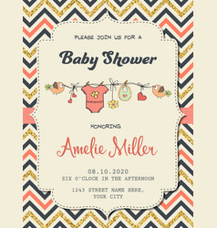 Beautiful retro baby shower card template with vector