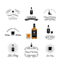 Bottle and Glasses Alcohol Elements Tequila vector image vector image