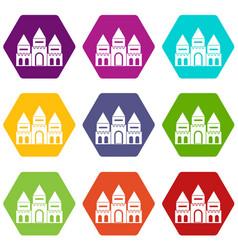 children house castle icon set color hexahedron vector image