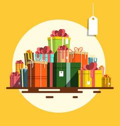 gift box flat design present boxes heap on retro vector image vector image
