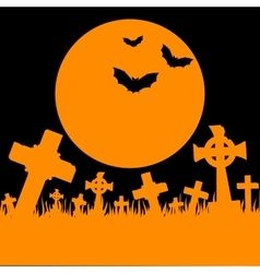 Orange moon cemetery and bats vector image