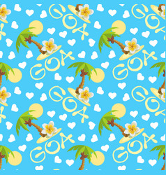 tropical island with palm tree flower plumeria vector image