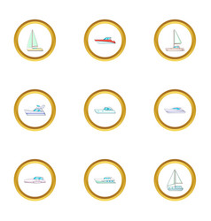 vessel icons set cartoon style vector image