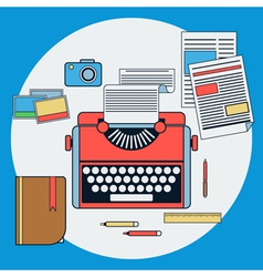 Workplace with retro typewriter vector image