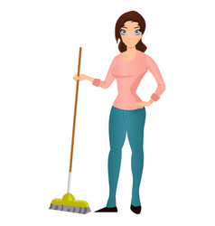 beautiful young woman housewife with a mop vector image