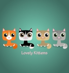 Cute funny lovely kittens vector image