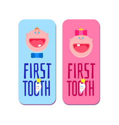 first tooth for boys and girls banners vector image