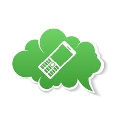 Green phone speech bubble icon vector