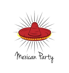 Mexican hat sombrero isolated on white vector image