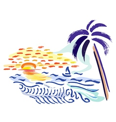 palm sunset and sea vector image vector image