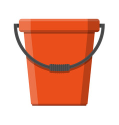 red plastic bucket with handle vector image vector image
