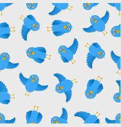 seamless blue bird pattern vector image vector image