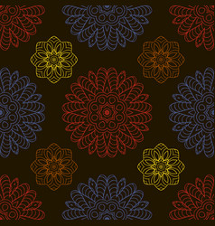 Color seamless pattern ethnic ornament hand drawn vector