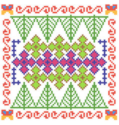 cross stitch embroidery floral design for seamless vector image vector image