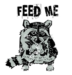 Cute raccoon hungry animal vector image