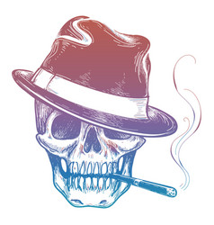 Gangster colorful skull with cigarette sketch vector