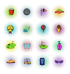 Golf equipment icons set comics style vector image