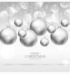 Hanging christmas balls background design vector