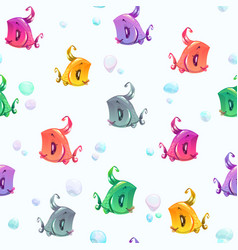 seamless pattern with cute colorful cartoon fishes vector image vector image